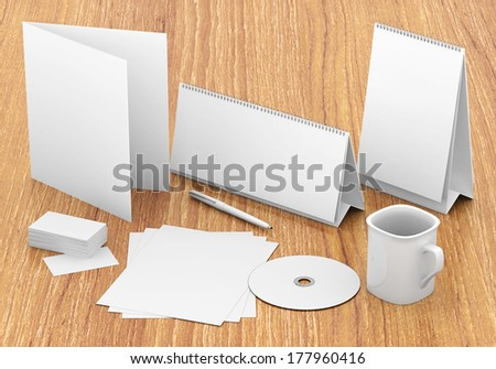 Corporate identity template on the wood background - stock photo