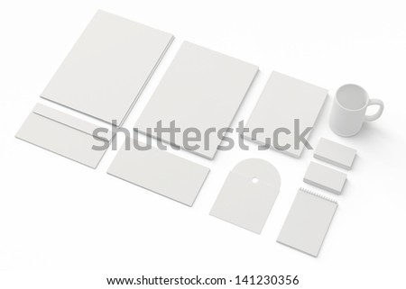 Corporate identity templates. / Corporate identity templates:blank, business cards, disk, envelope, cup, brand-book, note. Isolated with soft shadows on white - stock photo