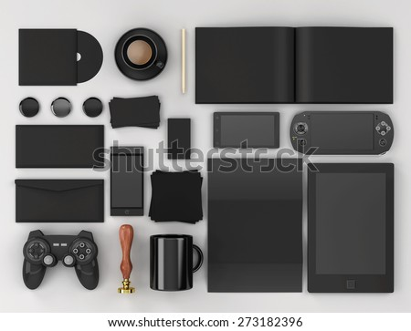 Corporate identity templates. Corporate identity templates:blank, business cards, disk, envelope, smart phone, pen, badge, cup, brand-book, tablet pc, watch, sunglasses, badges. - stock photo