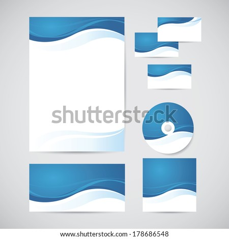 Corporate identity templates blue design elements em ilustrao corporate identity templates with blue design elements blank envelope business card cd reheart Image collections