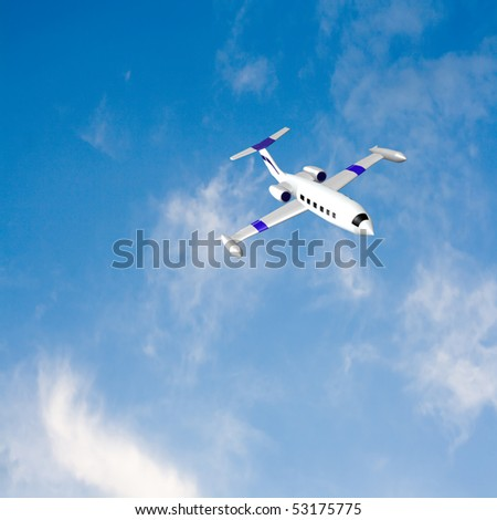 corporate jet flying against bright blue sky