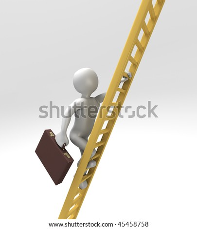 Corporate Ladder Climber (With Clipping Path) - stock photo