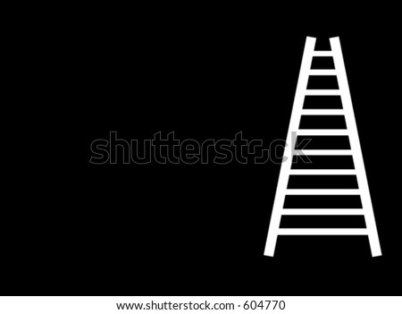 corporate ladder - white on black - stock photo