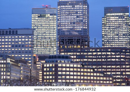 Corporate Office building in Canary Wharf, London  - stock photo