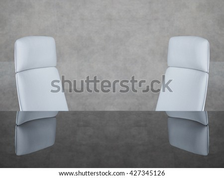 Corporate office chairs in a meeting room. Elegant Design with copy-space for your Text  - stock photo