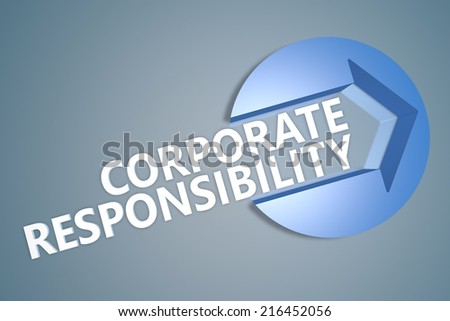 Corporate Responsibility - 3d text render illustration concept with a arrow in a circle on blue-grey background