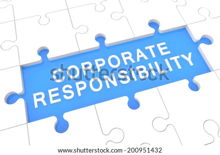 Corporate Responsibility - puzzle 3d render illustration with word on blue background - stock photo