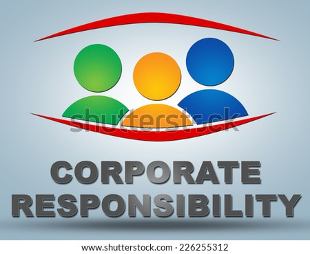 Corporate Responsibility text illustration concept on grey background with group of people icons - stock photo