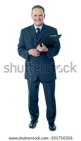 Corporate senior holding business documents, full length portrait - stock photo