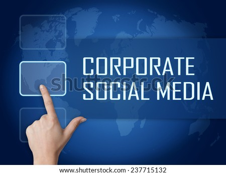 Corporate Social Media concept with interface and world map on blue background - stock photo