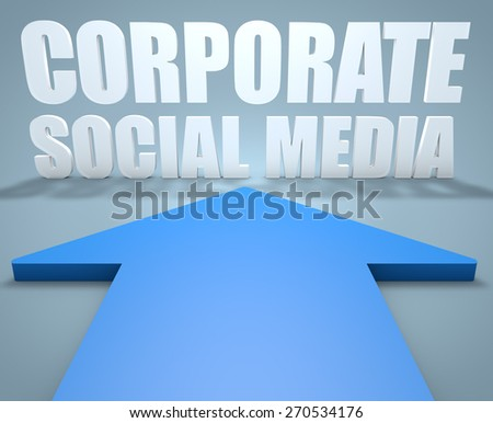 Corporate Social Media - 3d render concept of blue arrow pointing to text. - stock photo