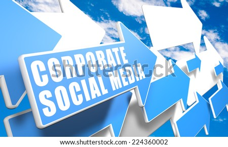 Corporate Social Media 3d render concept with blue and white arrows flying in a blue sky with clouds - stock photo