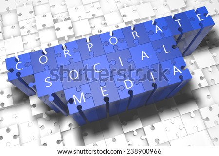 Corporate Social Media - puzzle 3d render illustration with block letters on blue jigsaw pieces