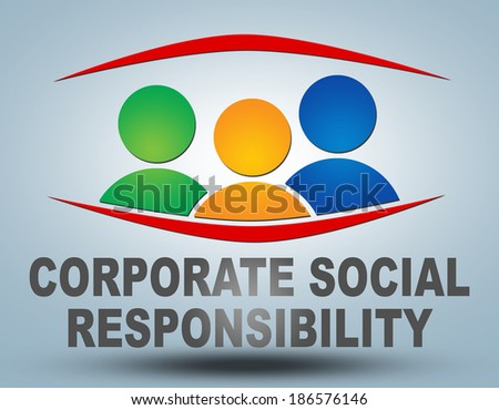 Corporate Social Responsibility text illustration concept on grey background with group of people icons - stock photo