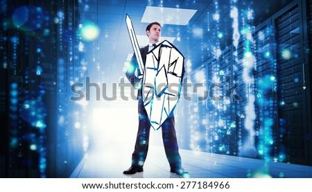 Corporate warrior against matrix falling in data center - stock photo