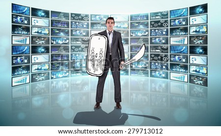 Corporate warrior against screen collage showing business images - stock photo