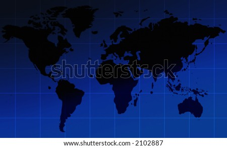 corporate world map over a blue gradient - stock photo