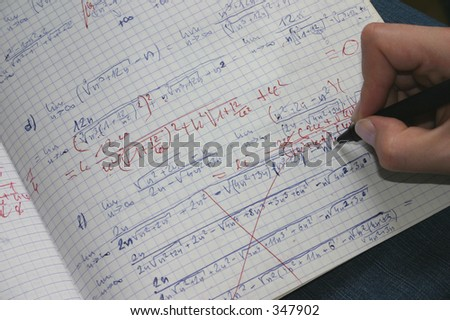 correcting maths - stock photo