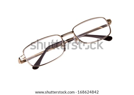 Correction glasses in metal frame isolated on white background - stock photo