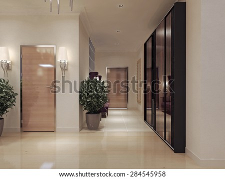Corridor art deco style d render stock illustration