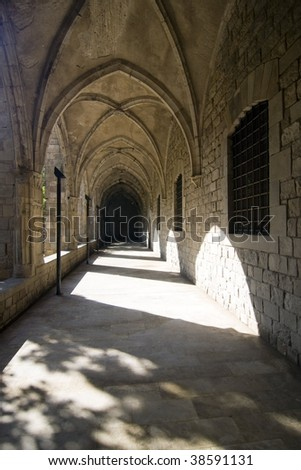 corridor at old church - stock photo