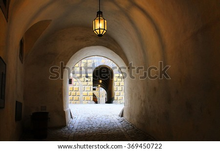 corridor dimly lit building europe