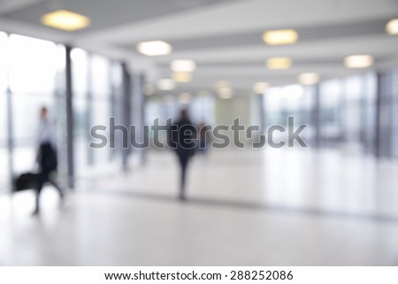 Corridor in airport out of focus - bokeh background - stock photo