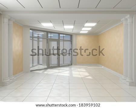Corridor in classic style - stock photo