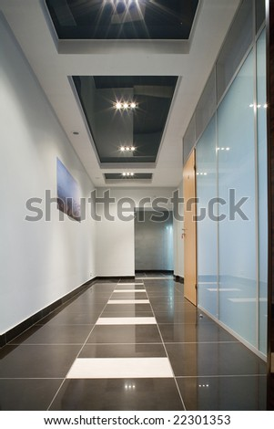 corridor in establishment - stock photo