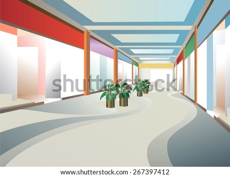corridor in mall with windows - stock photo