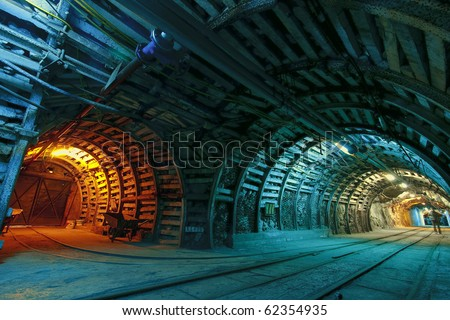 Corridor in mine - stock photo