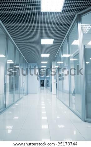 Corridor in modern business center - stock photo