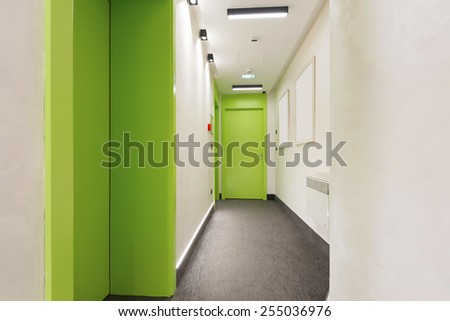 Corridor in modern hotel - stock photo