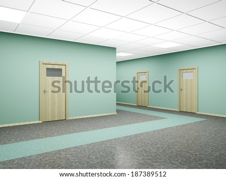 Corridor in modern office interior with several doors and walls of green. 3D render. - stock photo