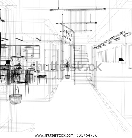 Corridor in modern office with wooden stairs, 3 d  rendering