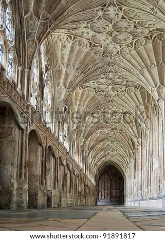 Corridor in the Cloisters at Gloucester Cathedral - stock photo