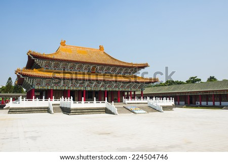 Corridor of A Confucius Temple, Typical Traditional Chinese Architecture, Located in Kaohsiung Taiwan - stock photo