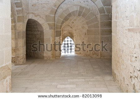 corridor of an ancient castle - stock photo