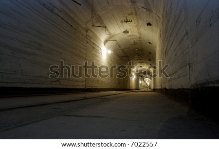 Corridor of an underground base - stock photo
