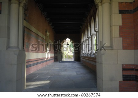 Corridor of Sanders Theatre.  This concert theatre is located in Massachusetts withing the Harvard University campus. - stock photo