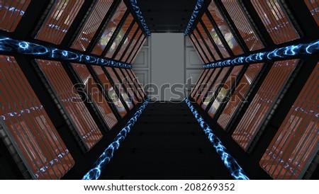Corridor passing spaceship science fiction - stock photo