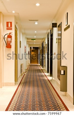 Corridor view of a new Spanish hotel . - stock photo