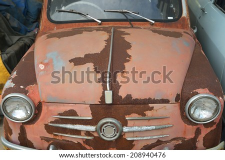 Corrosion of Vintage car detail and  - stock photo