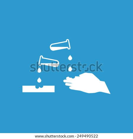 corrosive outline icon, isolated, white on the blue background. Exclusive Symbols  - stock photo
