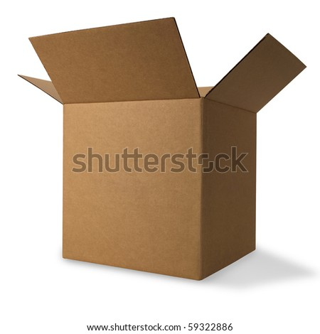 Corrugated Box with Path - stock photo