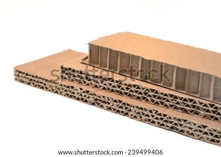 corrugated cardboard isolated on a white background - stock photo