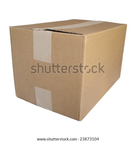 Corrugated cardboard parcel packet isolated over white