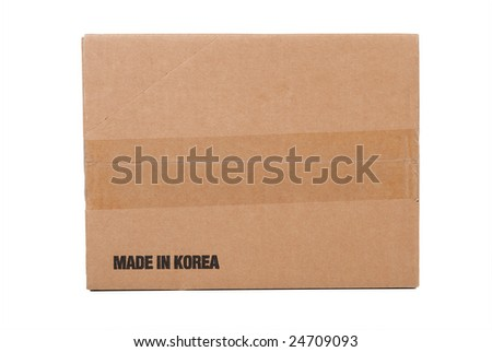 Corrugated cardboard shipping box, made in Korea, - stock photo