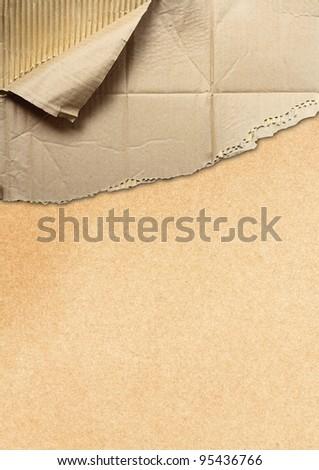 corrugated cardboard teared apart - stock photo