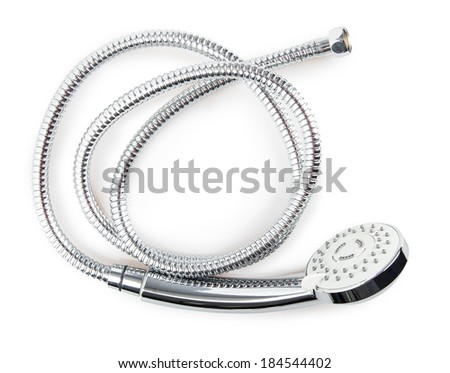 corrugated hose shower Isolated on white background - stock photo